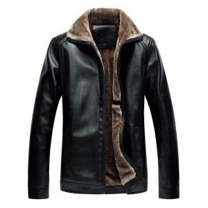 Faux Fur Collar Zip-Up PU Jacket - Black - L