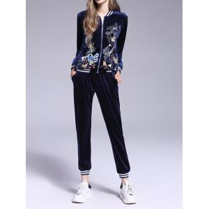 Animal Embroidered Velvet Gym Outfits