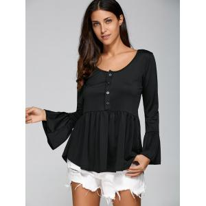 Flare Sleeve Peplum T-Shirt with Half Button