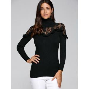 Lace Trim Insert Ruffles Turtleneck Knitwear