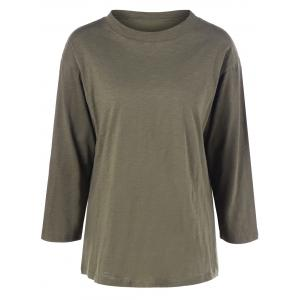 Plus Size Long Sleeve T Shirt - Army Green - 2xl