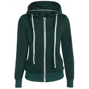 Zip Up Drawstring Pocket Design Hoodie