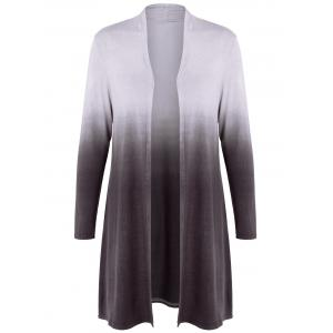 Collarless Ombre Open Front Coat - Coffee - 3xl