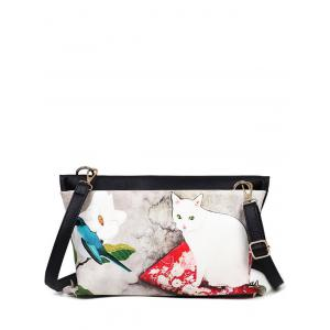 Rivets Cat Printed Colour Block Crossbody Bag