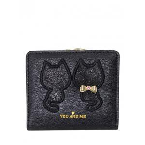 Embroidered Sequins Bi Fold Mini Wallet - Black - 5xl