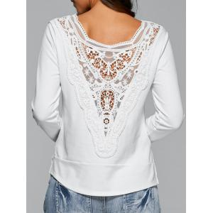 Long Sleeve Lace Back T-Shirt - White - L