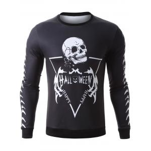 Halloween Skeleton Print Pullover Graphic Sweatshirts