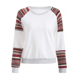 Tribal Print Sleeve Crew Neck Sweatshirt