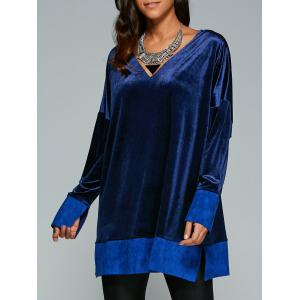 Deep V Neck Velvet Long Sleeve Tunic Dress