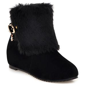 Buckle Faux Fur Hidden Wedge Boots