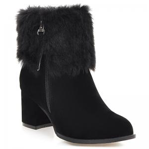 Double Zips Furry Chunky Heel Boots - Black - 38