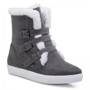 Casual Suede Buckle Straps Short Boots - Gray - 40