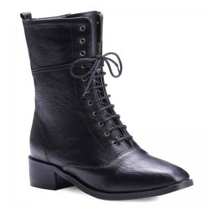 Lace-Up Eyelet PU Leather Combat Boots