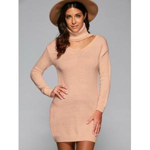 Cutout Turtle Neck Long Sweater - Nude - One Size