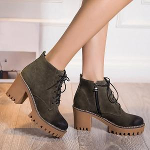Vintage Platform Lace-Up Chunky Heel Boots