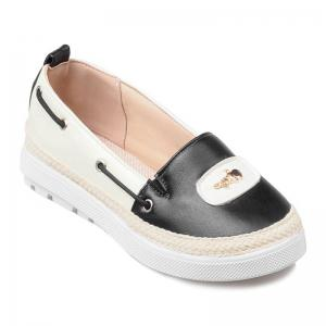 Metal Colour Block PU Leather Flat Shoes - Black - 40