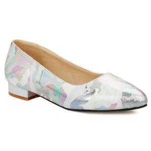 Printed Colour Spliced PU Leather Flat Shoes - Off-white - 40