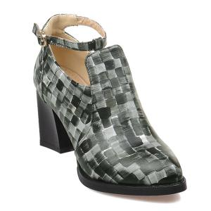 Colour Block Plaid Pattern PU Leather Pumps