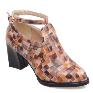 Colour Block Plaid Pattern PU Leather Pumps - Brown - 37