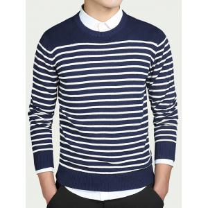 Striped Round Collar Long Sleeves Sweater - Blue - 2xl