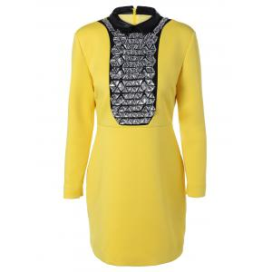 Rhinestone Long Sleeve Bodycon Dress