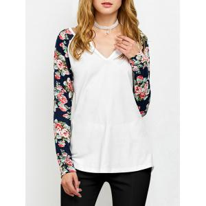 Low Cut Floral Sleeve T-Shirt