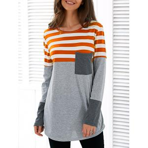 Patchwork Striped Long Sleeve Asymmetric T-Shirt