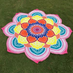 Multicolor Indian Mandala Lotus Shape Beach Throw -