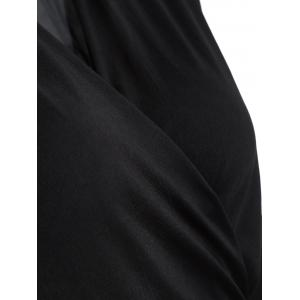 Surplice Stretchy Slimming T-Shirt - BLACK 2XL