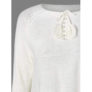 Lace-Up Fringed Sweater -