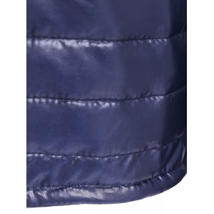 Deep Blue L Slim Quilted Winter Jacket With Hood | RoseGal.com