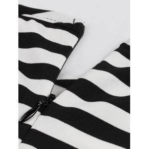 Midi Striped Formal Skater Cocktail Dress - BLACK S