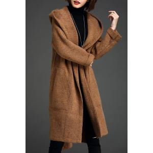Hooded Slit Wool Blend Coat - Camel - One Size