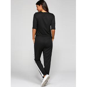 1/2 Sleeve T Shirt With Pants - BLACK XL