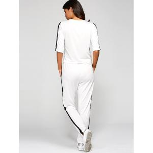 1/2 Sleeve T Shirt With Pants - WHITE L