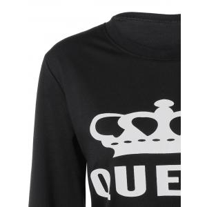 Round Neck Queen Crown Print Sweatshirt -