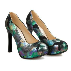 Chunky Heel PU Leather Printed Pumps -