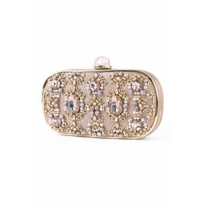 Faux Jewel Metal Trimmed Evening Bag -