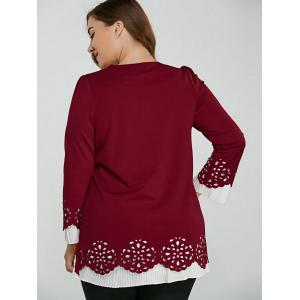 Long Sleeve Openwork Plus Size Blouse - WINE RED XL