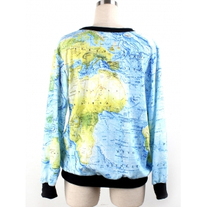 World Map 3D Print Sweatshirt -
