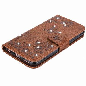 PU Wallet Design Papillon strass Motif iPhone Case iPhone 6S - Brun