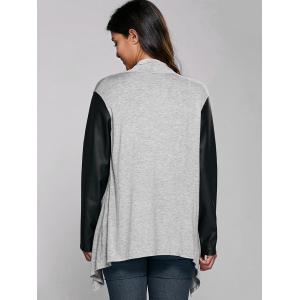 PU Sleeve Open Front Cardigan -
