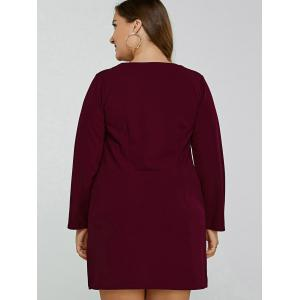 Plus Size Long Sleeve Mini Dress - WINE RED 2XL