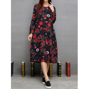 Floral Print Loose-Fitting Dress -