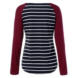 Raglan Sleeve Striped Comfy T-Shirt - STRIPE M