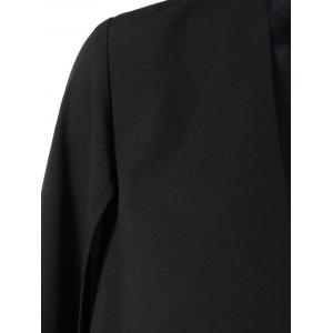 Asymmetric Fringed Cape Blazer - BLACK XL