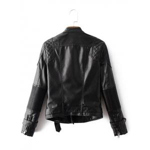 Zip Up Belted Punk Jacket - BLACK XL