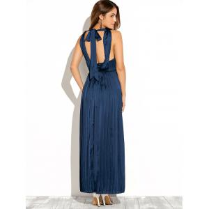 Backless Maxi Pleated Wedding Guest Prom Dress - BLUE 2XL
