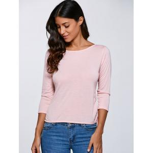 Open Back  Bow Long Sleeve T-Shirt - PINK M