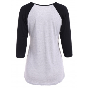 Raglan Sleeve V Neck T Shirt - LIGHT GRAY XL